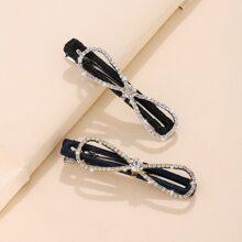 2pcs Rhinestone Bow Decor Hair Clip