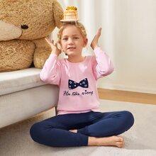 Girls Bow & Letter Graphic Sweatshirt & Sweatpants PJ Set