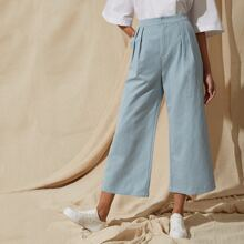 x MARIAH ESA Fold Pleat Detail Cropped Wide Leg Pants