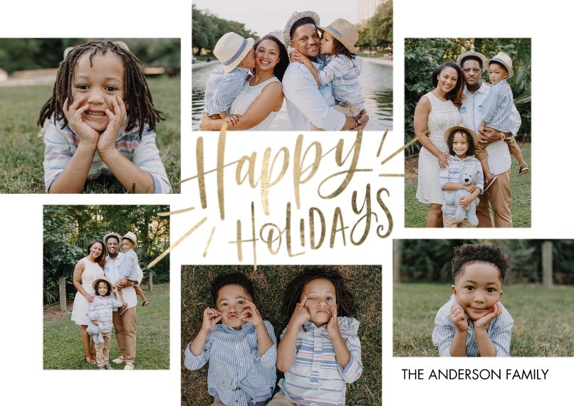 Holiday Photo Cards 5x7 Cards, Premium Cardstock 120lb, Card & Stationery -Holiday Gold Happy by Tumbalina
