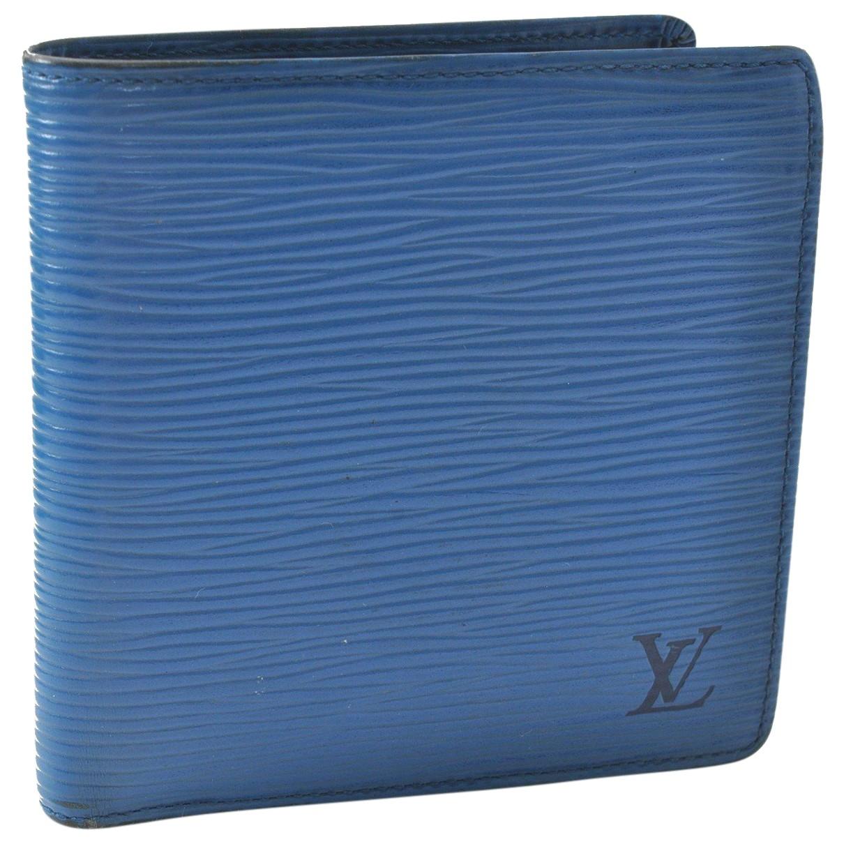 Louis Vuitton \N Portemonnaie in  Blau Leder