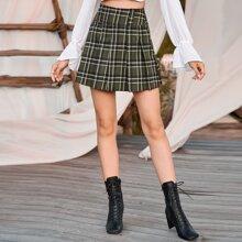 High Waist Tartan Pleated Skirt