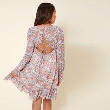 Maternity Floral Print Lace Up Backless Flounce Hem Dress