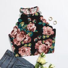 Floral Print Scallop Trim Crop Halter Top