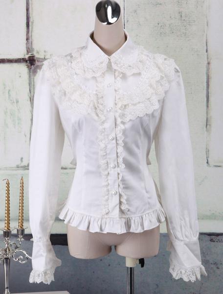 Milanoo White Cotton Lolita Blouse Long Sleeves Lace Trim Turn-down Collar Ruffles