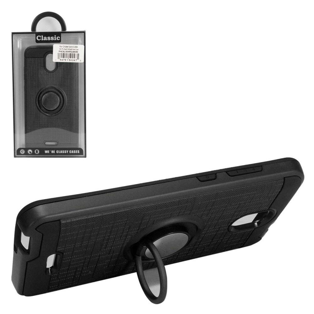 Insten Hard Hybrid Brushed TPU Case w/stand For Cricket Icon - Black (Black)