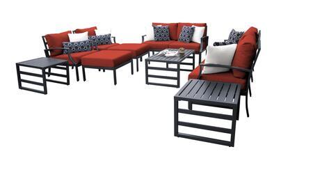 Lexington LEXINGTON-12h-TERRACOTTA 12-Piece Aluminum Patio Set 12h with 2 Left Arm Chair  2 Right Arm Chair  2 Club Chairs  1 Armless Chair  2
