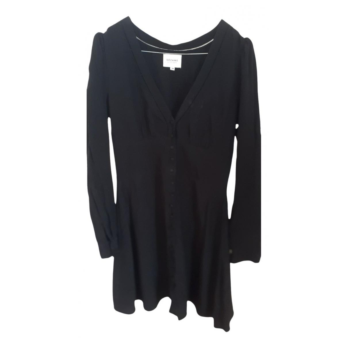 Sezane \N Kleid in  Schwarz Seide