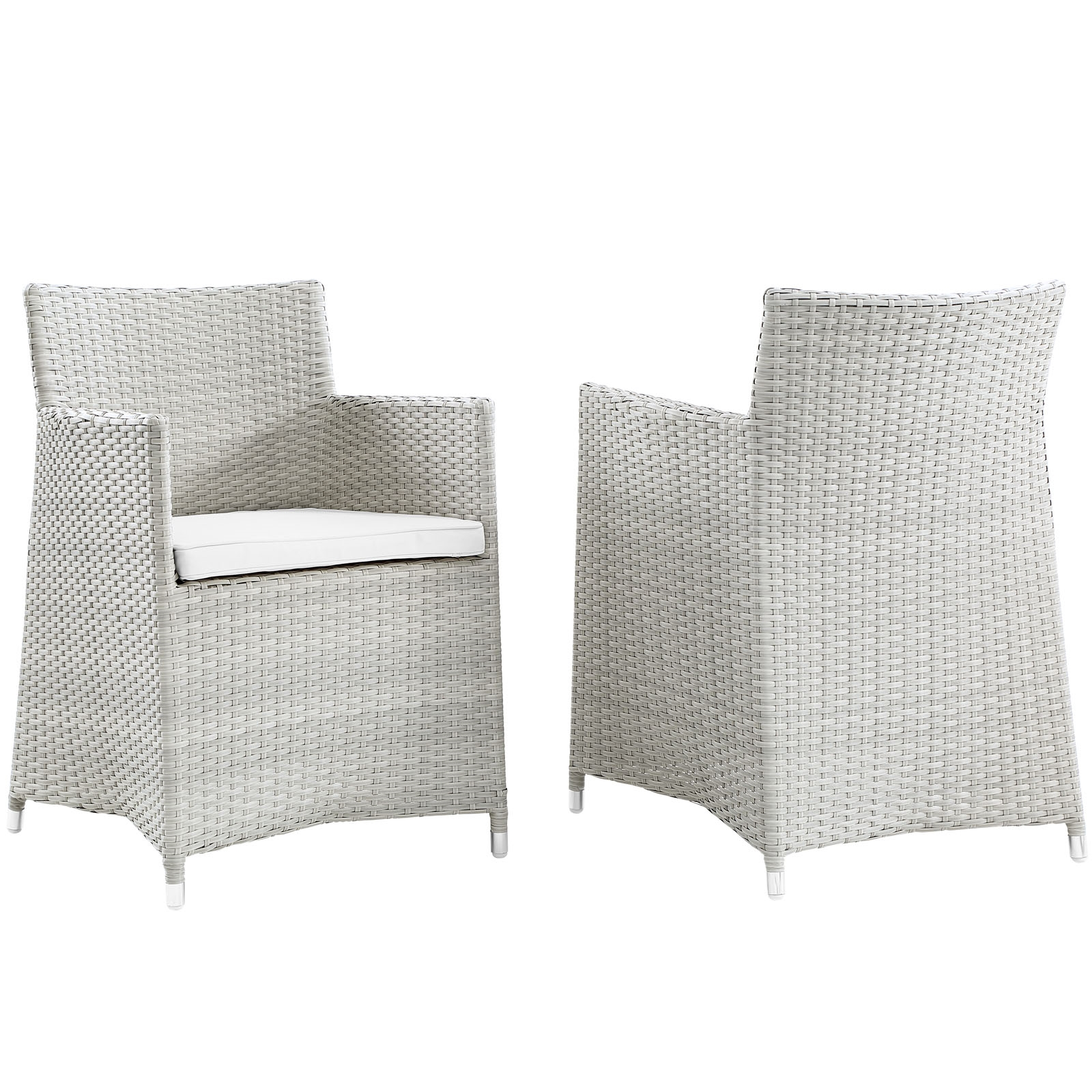 Junction Armchair Outdoor Patio Wicker Set of 2 in Gray White