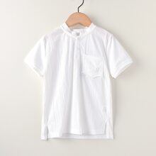 Boys Solid Embroidered Pocket Shirt