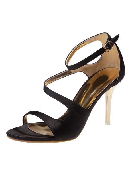Milanoo High Heel Sandals Womens Black Silk and Satin Open Toe Ankle Strap Stiletto Heels Sandals