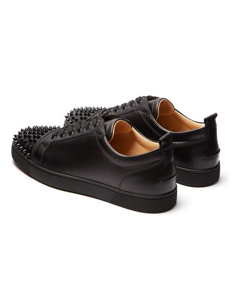 Milanoo Zapatos de lona de PU negros con pinchos estilo moderno de puntera redonda Invierno para uso al aire libre