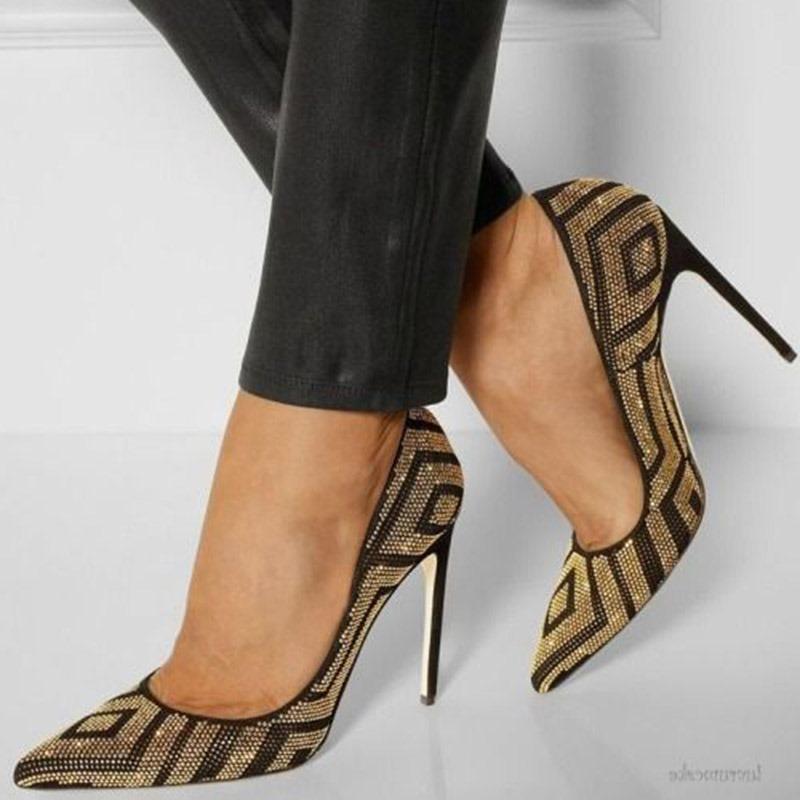 Ericdress Rhinestone Slip-On Pointed Toe Stiletto Heel Pumps