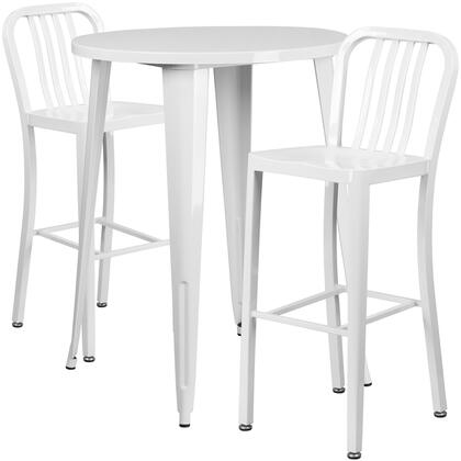 CH-51090BH-2-30VRT-WH-GG 3 Piece Set Indoor-Outdoor Bar Table Set with 2 Slat Back Stools  Round Shaped Cafe Table Top  Footrest Support and Powder