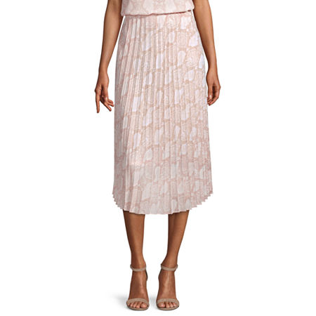 Worthington Womens High Rise Midi Pleated Skirt, Large , Beige