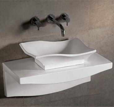 WHKN1078-1116 Isabella rectangular above mount basin with offset center drain and matching wall mount counter