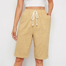 Patched Pocket Cuffed Bermuda Shorts