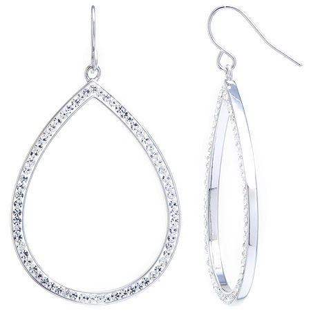 Sparkle Allure Large Open Teardrop Clear Crystal Silver Plated Drop Earrings, One Size , No Color Family