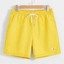 Men Drawstring Waist Contrast Stitch Patch Pocket Shorts