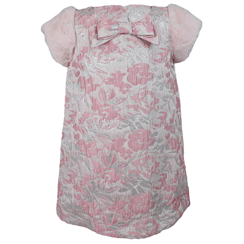 Janie And Jack Metallic Floral Jacquard Dress - 4 - Pink