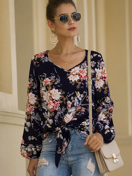 Yoins Navy Random Floral Print V-neck Knotted Long Sleeves Blouse