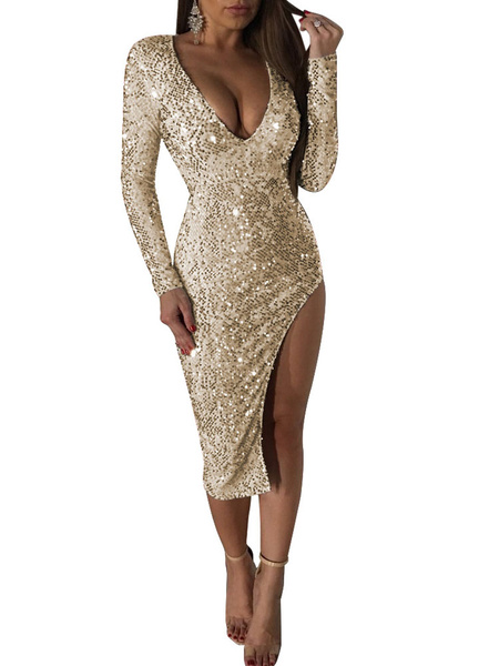 Milanoo Sequin Club Dress Glitter Plunging Long Sleeve Split Sexy Dresses For Women