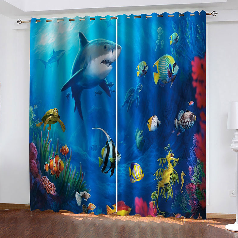 3D Undersea World Blackout Window Curtains for Living Room No Pilling No Fading No off-lining Drapes Blocks Out 80% of Light and 90% of UV Ray