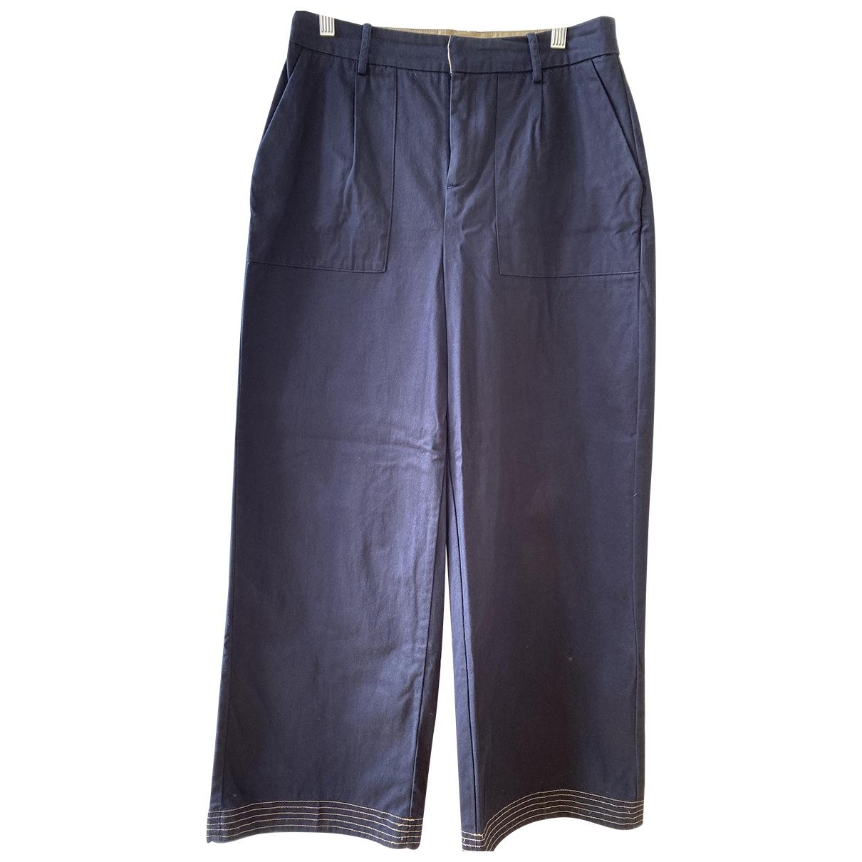 Zara \N Blue Cotton Trousers for Women 42 IT