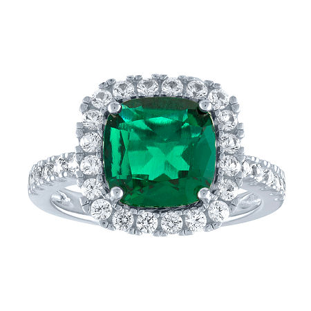 Lab-Created Green Emerald & Lab-Created White Sapphire Sterling Silver Cocktail Ring, 9 , No Color Family