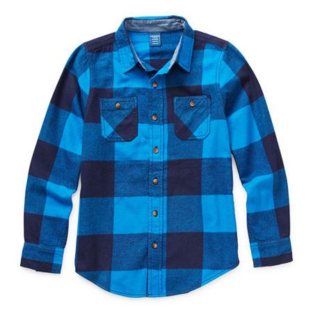 Arizona Little & Big Boys Long Sleeve Flannel Shirt, X-small (6-7) , Blue