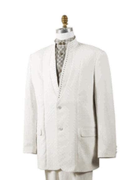 Mens Off White 2 Button Mandarin Collar Rhinestone Fashion Suit