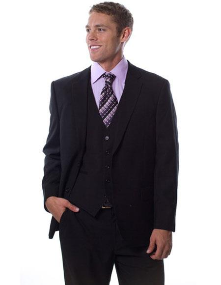 Caravelli Mens 2 Button Black Notch Lapel Classic Fit Single Vent Suit