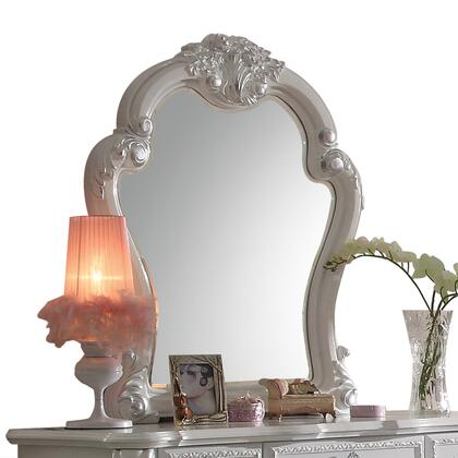Dresden Collection 30669 35 x 41 Mirror with Beveled Edge  Poly Resin Ornamental Details and Solid Wood Construction in Antique White