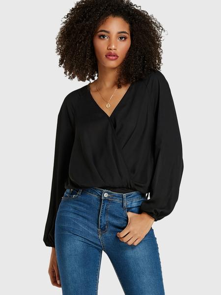 Yoins Black Crossed Front V-neck Long Sleeves Bodysuit