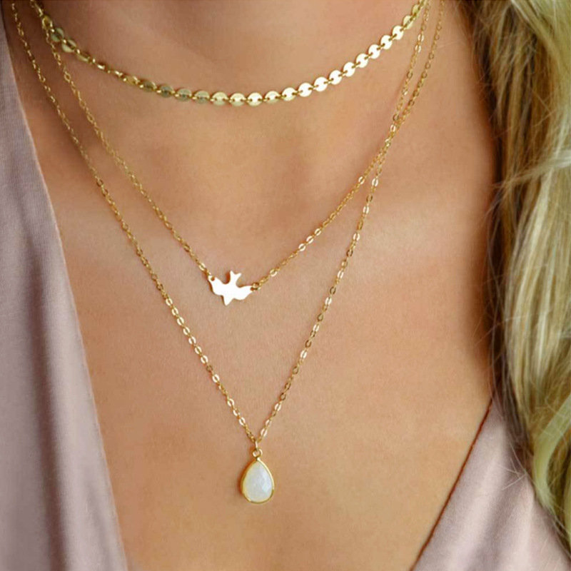 Bohemian Peace Pigeon Multi-layer Necklace Water Drop Pendant Alloy Chain Charm Necklace