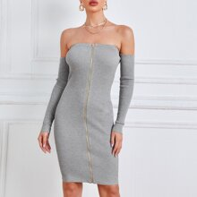 Off Shoulder Ribbed Knit Zipper Front Bodycon Sweater Dress