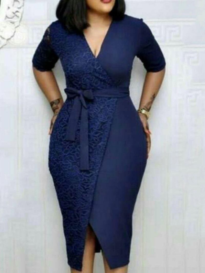 Ericdress Lace Short Sleeve Split Mid-Calf OL Bodycon Plain Dress
