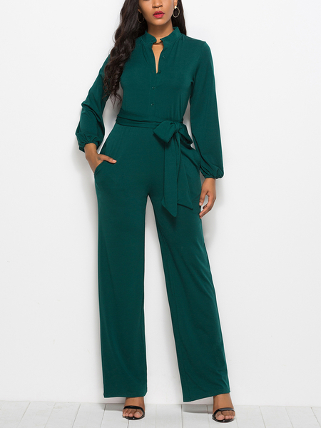 Yoins Green Belt Design Front Button Round neck Long Sleeves Jumpsuit