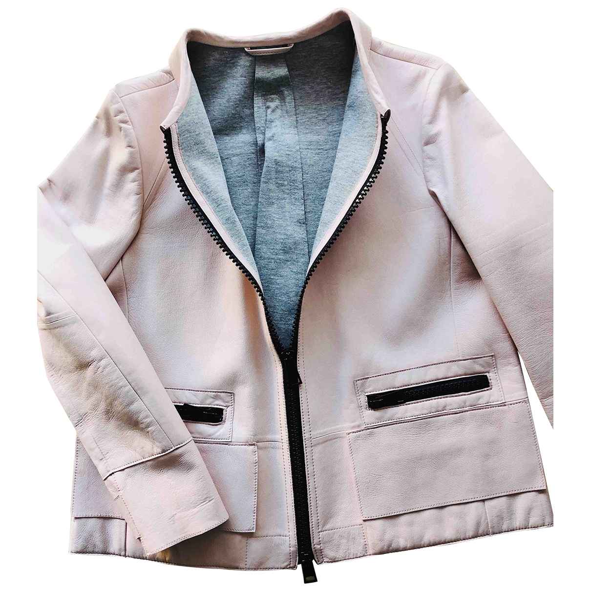 Emporio Armani \N Pink Leather Leather jacket for Women 38 IT