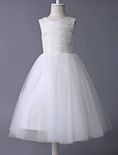 Milanoo Vestido de niña marfil tutu de flores con encaje de tul Vestido de primera comunion son mangas Vestido corto de fiesta de niño