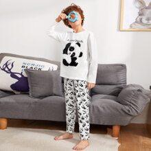 Schlafanzug Set mit Buchstaben Stickereien und Panda Muster