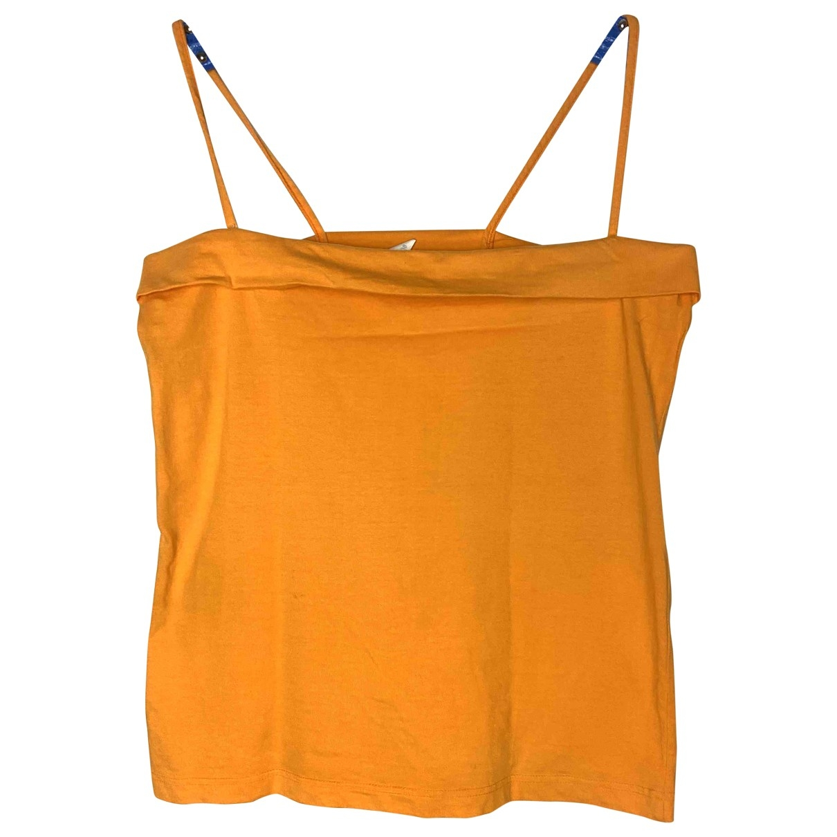 Non Signé / Unsigned Hippie Chic Orange Cotton  top for Women M International
