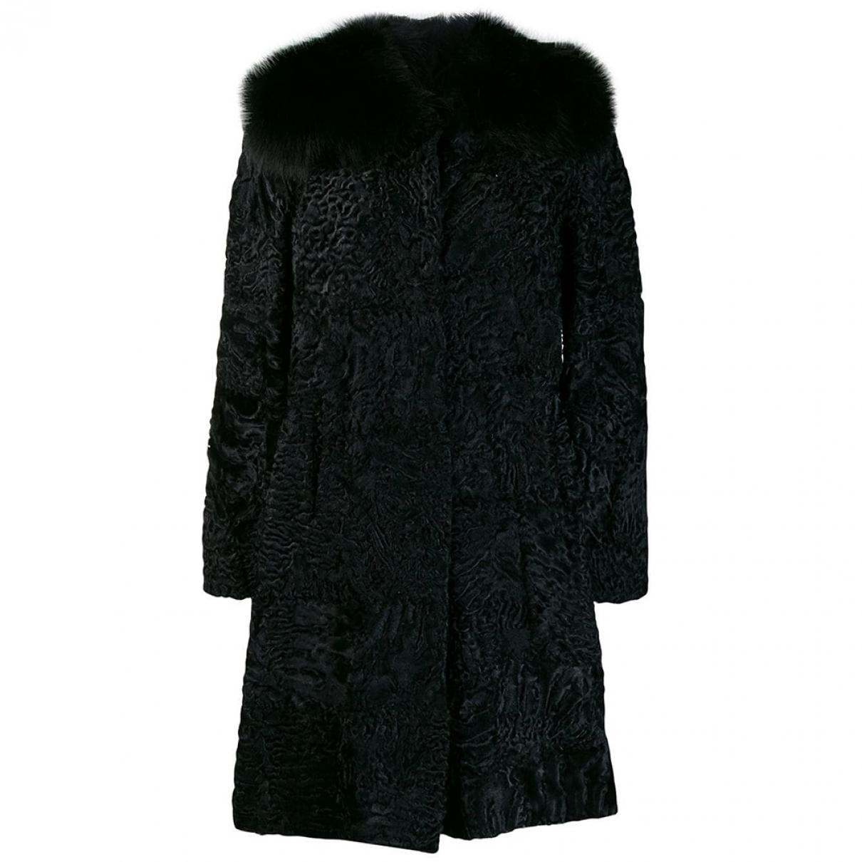 Prada - Manteau   pour femme en astrakan - noir