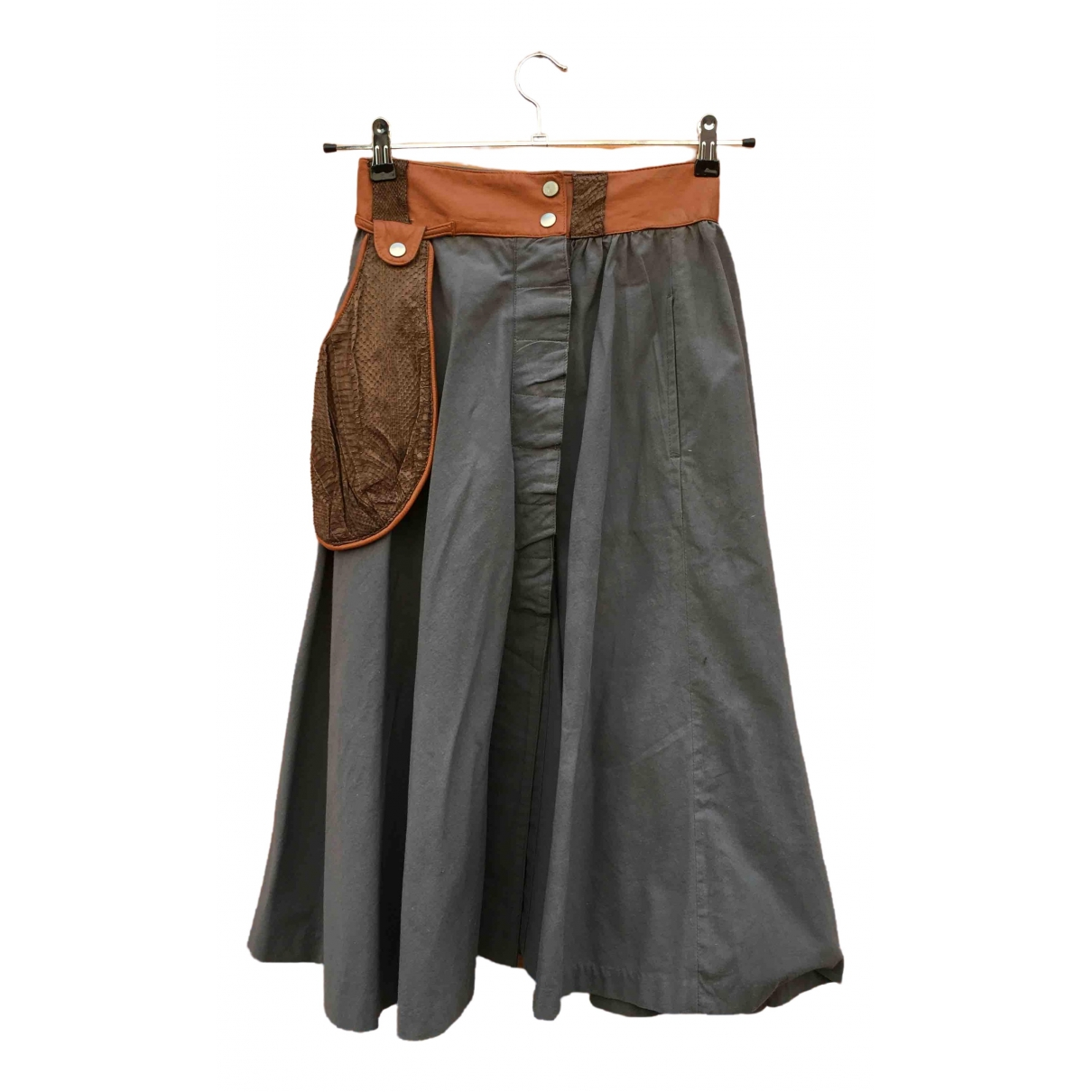 Non Signé / Unsigned Hippie Chic Grey Python skirt for Women 44 IT