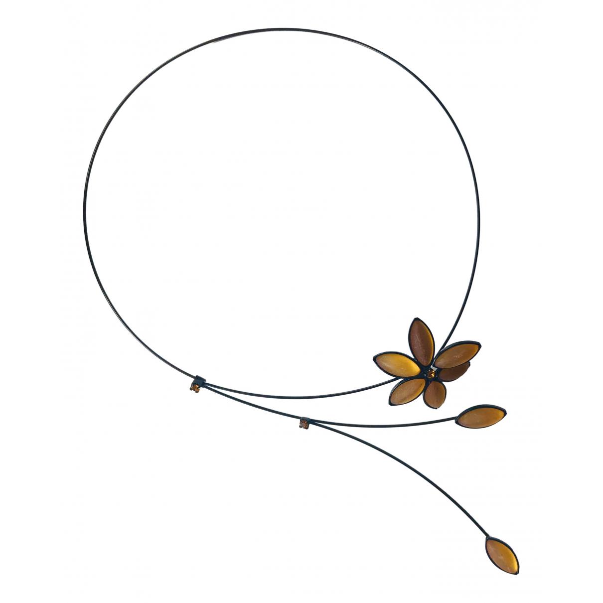 Non Signé / Unsigned Motifs Floraux Black Metal necklace for Women \N