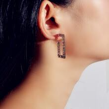Sequin Decor Geometric Hoop Earrings