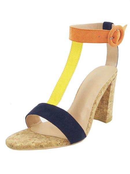 Milanoo Sandalias de tacon alto Corduroy Mujeres Multicolor Open Toe T Type Sandalias de correa de tobillo