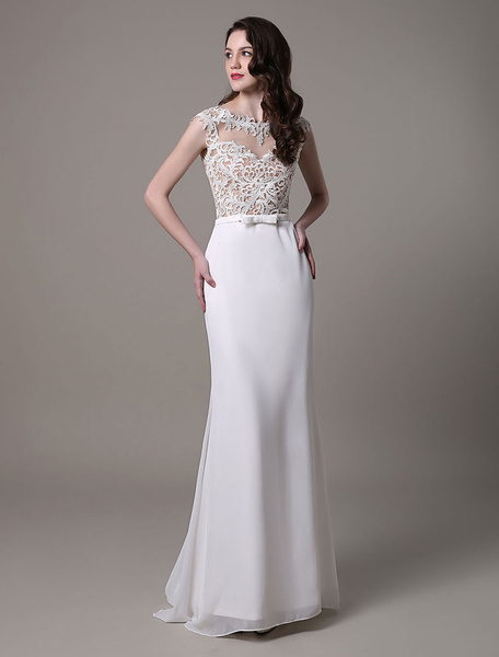 Milanoo Vintage Wedding Dress Lace And Chiffon Sheath With Stunning Bateau Illusion Neckline And Illusion Back