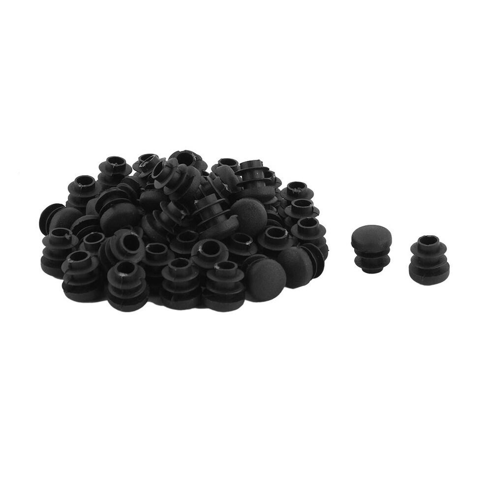 Plastic Round Shaped Table Desk Chair Legs Dustproof Tube Insert 14mmDia 50 Pcs - Black (Black)