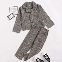 Toddler Girls Plaid Button Front Blazer & Pants